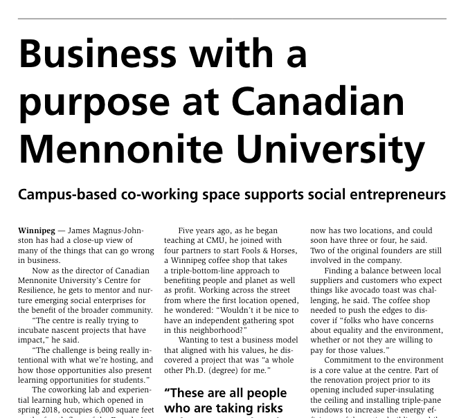 """Business with a Purpose"" (Centre for Reslience featured in The Marketplace)"